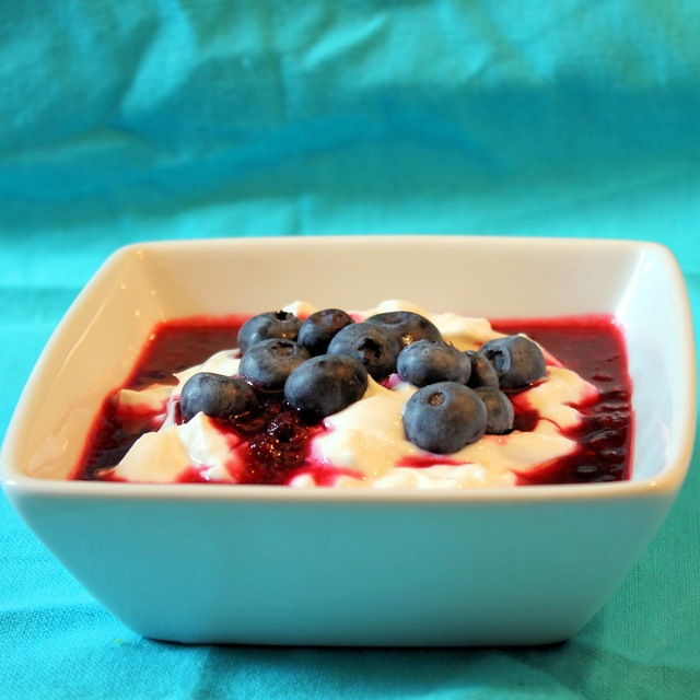 Greek Yogurt with Warm Berry Sauce