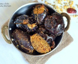 Ennai Kathrikaai Curry/Stuffed Brinjal Dry Curry/Yennai Kathrikaai Curry