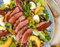 Summer salad with duck breast & peaches