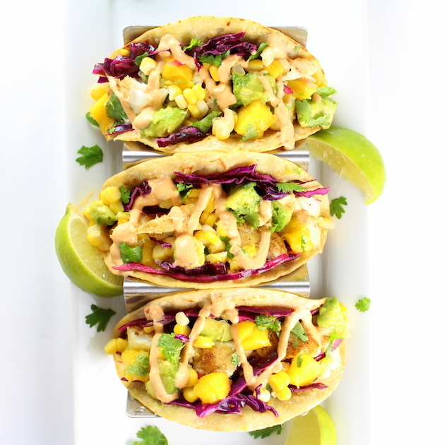 Fish Tacos with Mango Guacamole