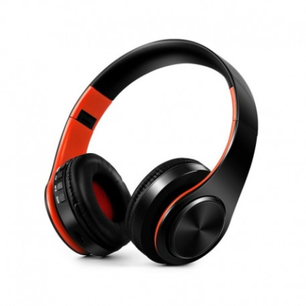 Foldable HIFI Stereo Over-head Portable Comfortable Bluetooth Wireless Stereo Headset - Black / Orange