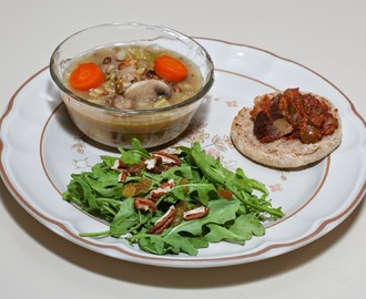 Mushroom Barley Vegetable Soup, Multigrain English Muffin with Caponata, Baby Arugula with Pecan (Almost No Added Fat)