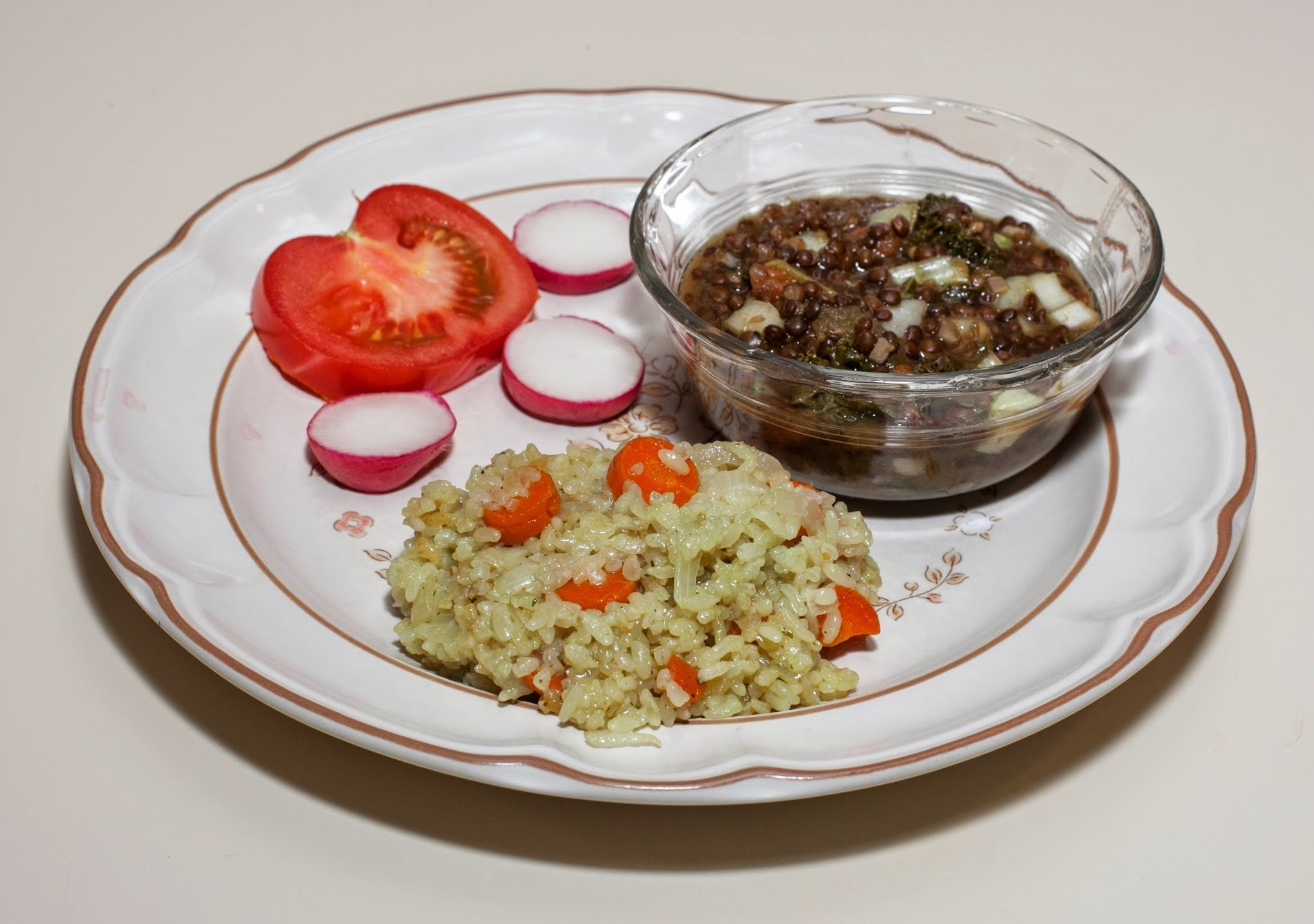 Black Beluga Lentil with Tomato, Three Kinds of Kale, and Bok Choy, served with Jade Pearl Rice with Carrot and Onion (No Added Fat)
