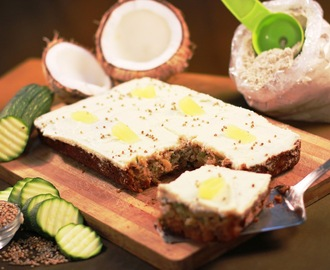 Whole Wheat and Bajra -Pearl Millet flour Sheet Cake with Zucchini, Pineapple and a smattering of coconut with Cream Cheese