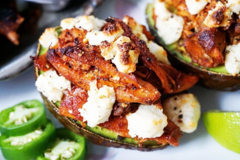 Mexican Stuffed Avocado | Shredded Chicken and Cheese!