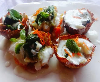 Aloo tokri chaat (Potato basket Indian savory snacks)
