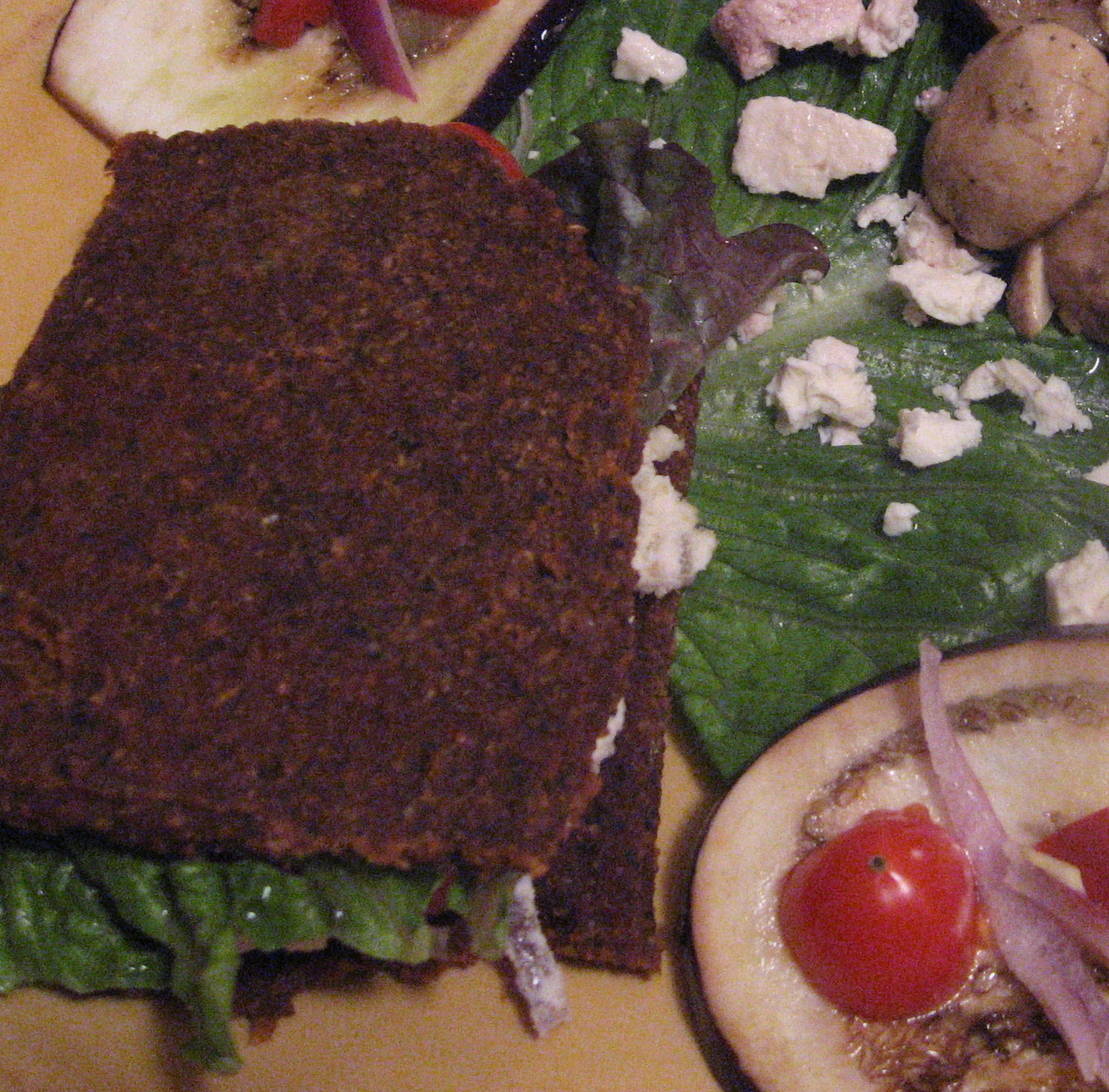 Raw Mediterranean Almond Bread  and Unroasted Eggplant Sandwich