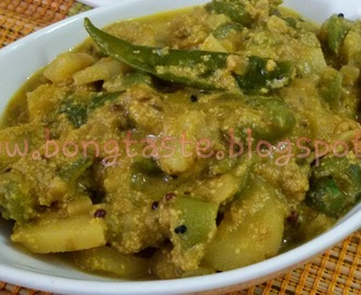 Jhinge Aloo Posto Or Ridgegourd Potato curry with Poppy Seeds Paste ir Turai Aloo Sabji with khus khus paste