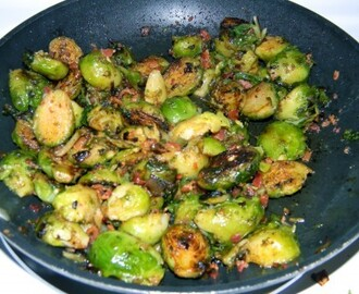Buttery Pan Roasted Brussels Sprouts with Bacon