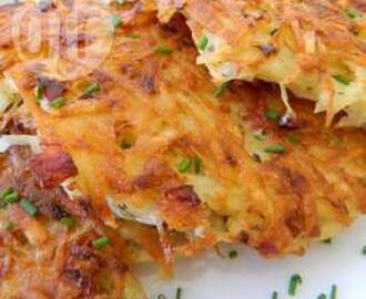 Crispy potato cakes with ham