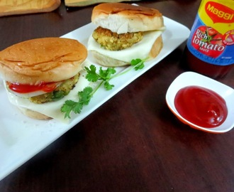 Vegetarian Burger with Tofu Patties | How to make Tofu Patty Burger