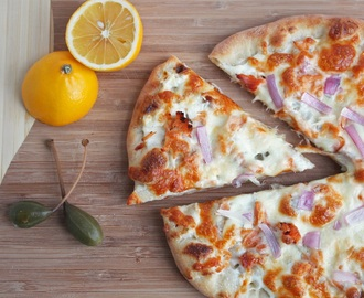 Smoked Salmon Pizza w/ Red Onion & Capers