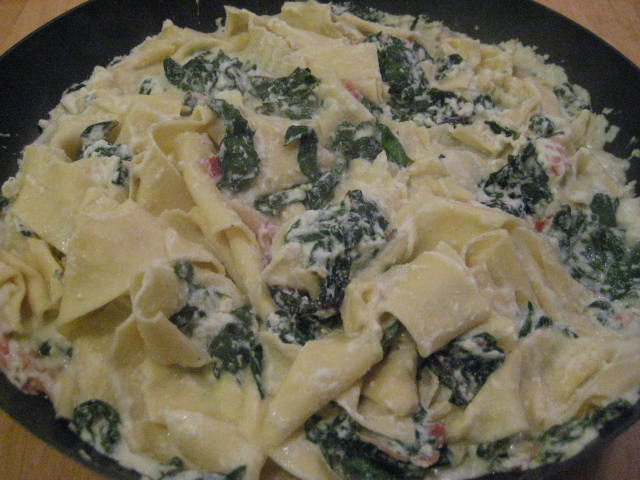 Pappardelle Pasta with Swiss Chard, Bacon and Ricotta Cheese