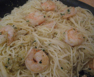 Angel Hair Pasta with Shrimp and Sand