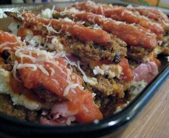 Eggplant Stacks with Proscuitto and Cheeses