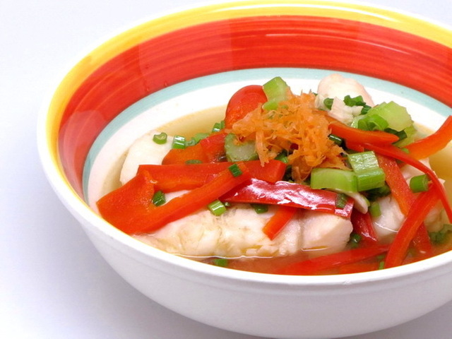 Poached Fish in Asian Broth