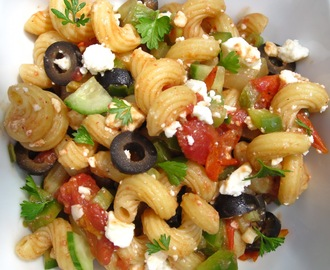 Greek Pasta Salad with a Roasted Tomato Vinaigrette