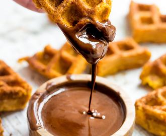 Paleo Pumpkin Churros with Dark Chocolate Sauce (Made in Waffle Iron)