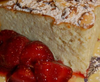 Ricotta Souffle with Amaretto Strawberries