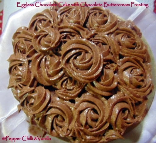 Eggless Chocolate Cake With Chocolate Butter Cream Frosting.