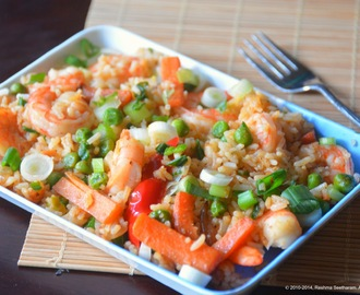 Thai curry rice with shrimp