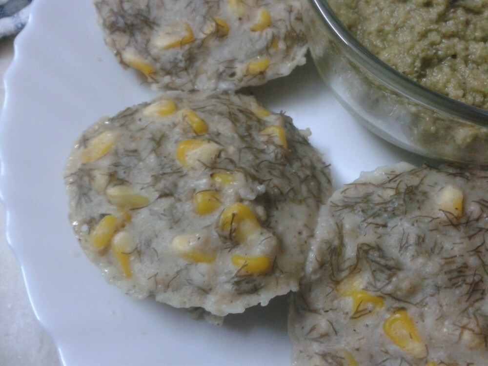 Jowar & Bajra Idli with Suva Bhaji & Sweetcorn/Sorghum & Pearl Millet Idli with Dill Leaves & Sweetcorn