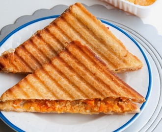 Mashed potato, Paneer and Carrot Grilled cheese sandwich