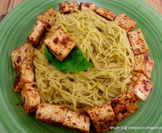 NOODLES IN BASIL SAUCE WITH PAN FRIED TOFU