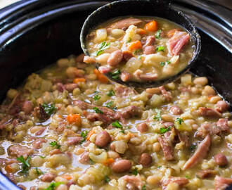 Slow Cooker Ham Bone Bean Soup