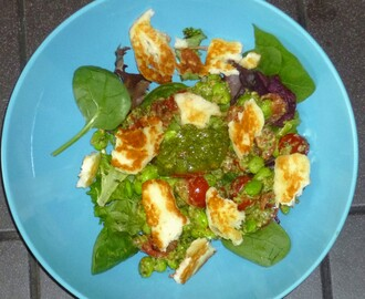 Halloumi Salad with Walnut Pesto Soya Beans and Tomatoes Recipe