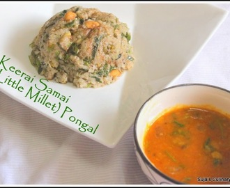 Keerai Samai Pongal using Sprouts/Little Millet and Greens Pudding using Sprouts