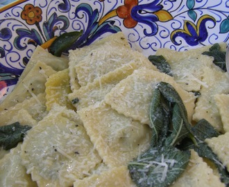 Ravioli Stuffed with Greens in Butter & Sage