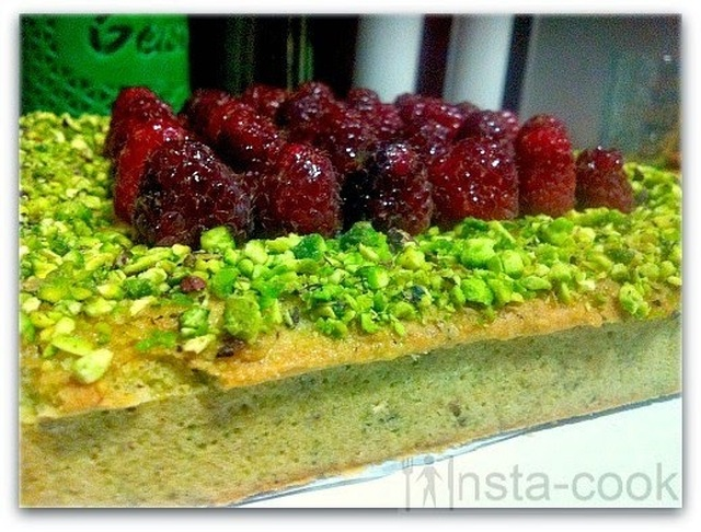 Raspberry and pistachio tart de Richard Bertinet. Sublim.