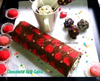 Chocolate Roll Cake with Cute Little Hearts and Polka Dots