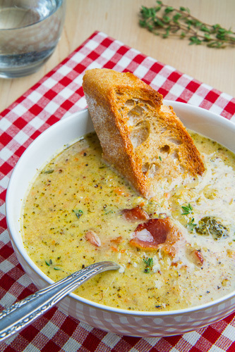 Roasted Broccoli and Cheddar Soup
