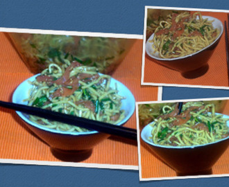 Noodles with smoked salmon / Massa chinesa com salmão fumado!