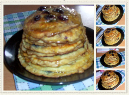 American breakfast pancakes with blueberries/Panquecas americanas com mirtilos!
