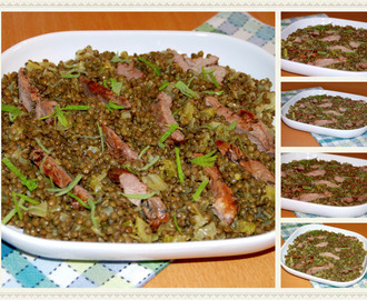 Beef with mustardy lentils and mint / Bife com lentilhas, mostarda e menta!