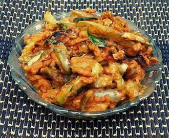Brinjal Fry with Cream of Onion