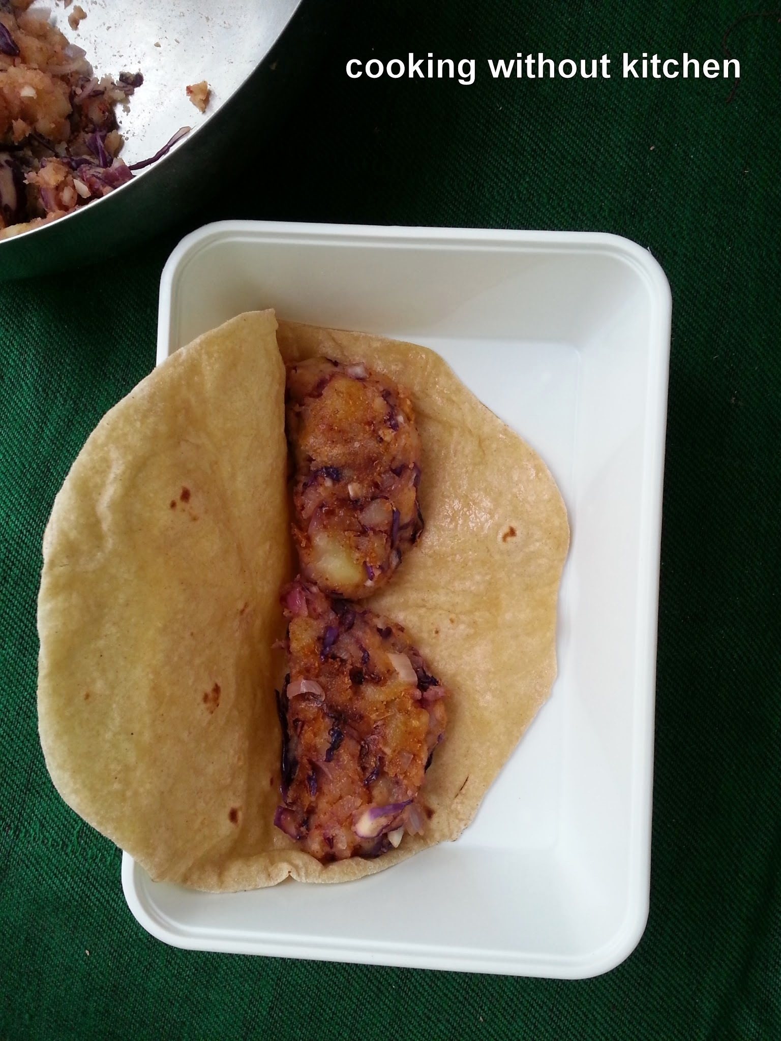Instant Potato patty with poha or red cabbage