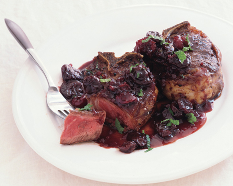 Lamb Chops with Dried Cherries and Port