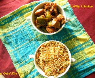 Vegetable Fried Rice and Chilly Chicken