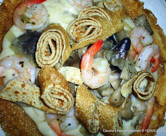 Shrimp Mushroom Crepe with Cheese sauce - Bonaire Island inspired