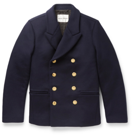 Daven Double-breasted Virgin Wool-blend Peacoat - Navy