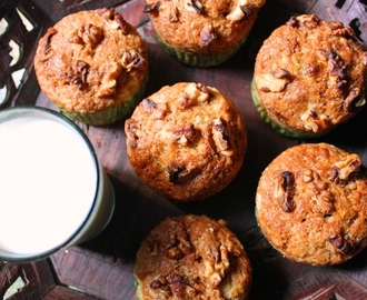 Eggless Banana Nut Muffins Recipe / Banana Walnut Muffins Recipe