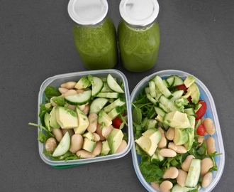 White bean salad and green juice – to go