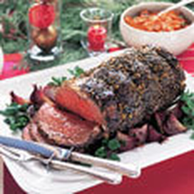 Black Pepper-Crusted Standing Rib Roast au Jus