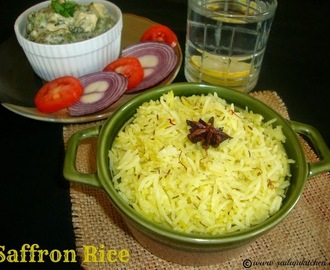 Saffron Rice Recipe / Kesar Rice Recipe / Kesar Chaval Recipe / Saffron Steamed Plain Basmati Rice Recipe