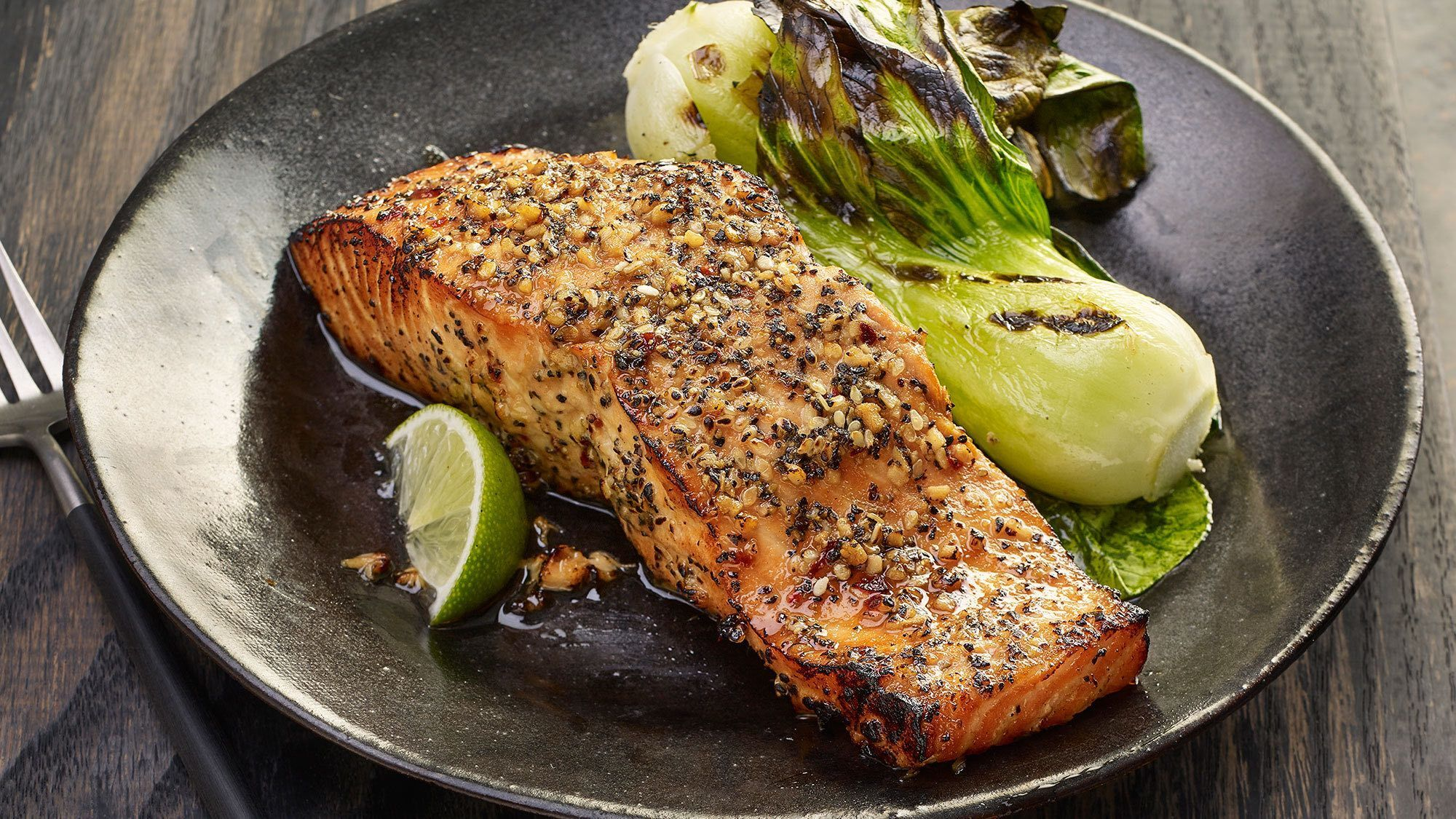 Grilled Salmon with Peppered Soy Glaze