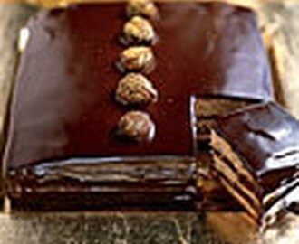 Dark Chocolate-Caramel Cake with Gold-Dusted Chestnuts